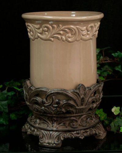 Old World Tuscan Drake Design Utensil Holder Taupe Kitchen Decor Vase