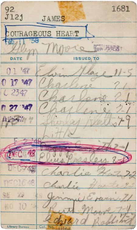 Elvis Presley Signed Humes High School Library Card (1948).