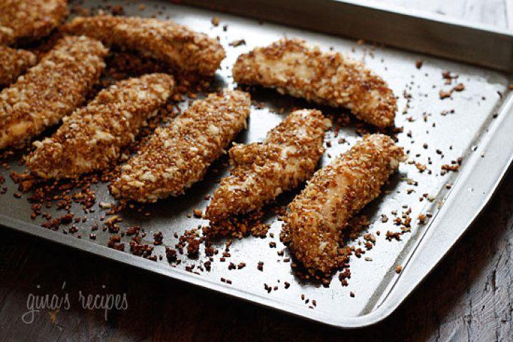 Sesame Encrusted Baked Chicken Tenders | Food | Pinterest