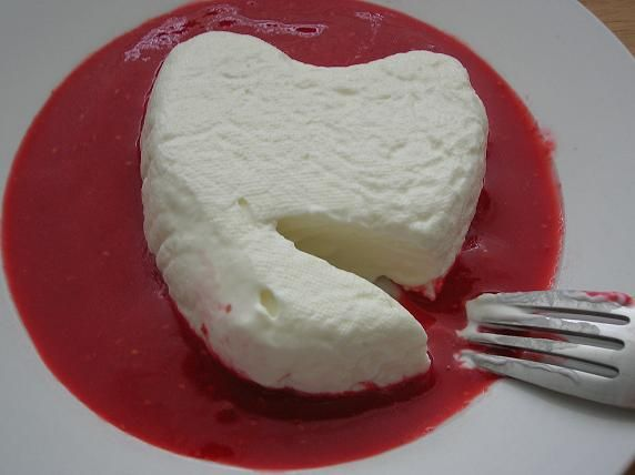 Coeur a la Creme. (Cream cheese custard with lemon zest. Serve with ...