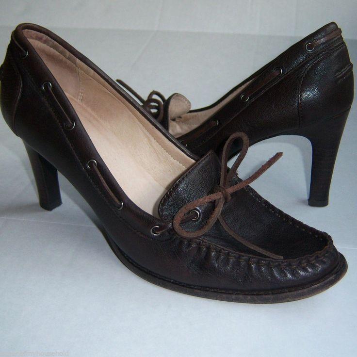 Michael Kors Womens Shoes 8.5 Leather Moc Toe Heels Bow Detail Womens