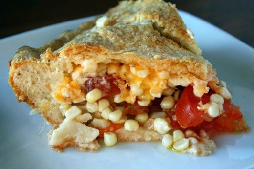 Corn and tomato pie adapted from Gourmet by Dana Treat