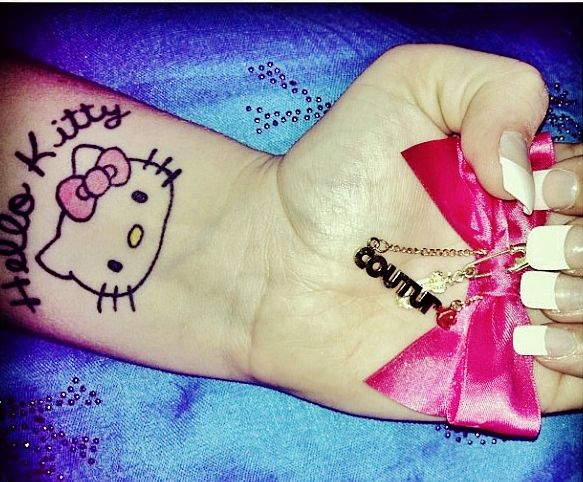 hello kitty wrist tattoo with bow pink bow juicy couture. Black Bedroom Furniture Sets. Home Design Ideas