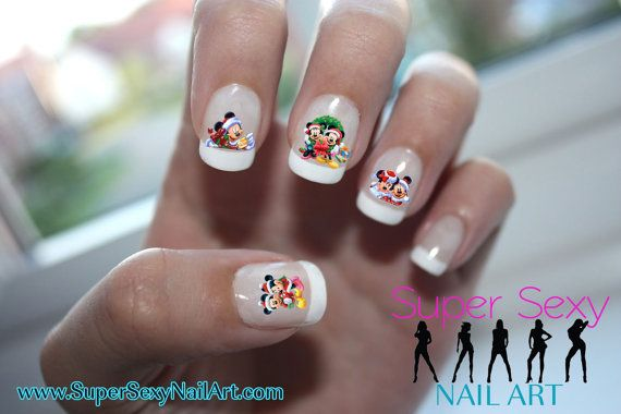 View Images Disney Christmas Mickey Minnie Mouse Nail Art Water