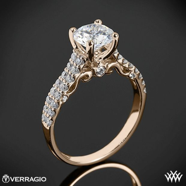 20k Rose Gold Verragio Dual Row d Prong Diamond Engagement Ring
