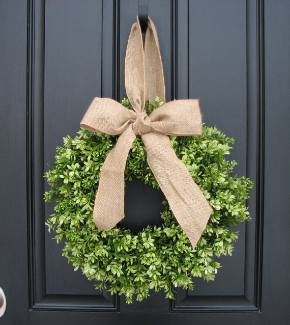 Spring Decor  Burlap Bow  Boxwood Wreath  Door