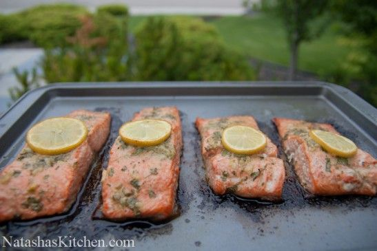 Baked Salmon Recipe- I substitute Dill for Parsley and I add 2 chopped ...