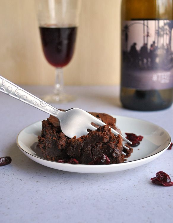 Red Wine Brownies Recipe with Drunken Cranberries | Recipe