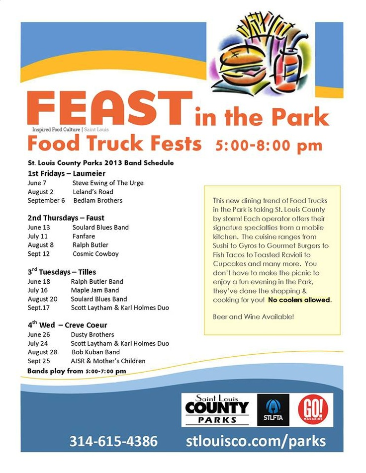 2013 feast in the park band and food truck schedule