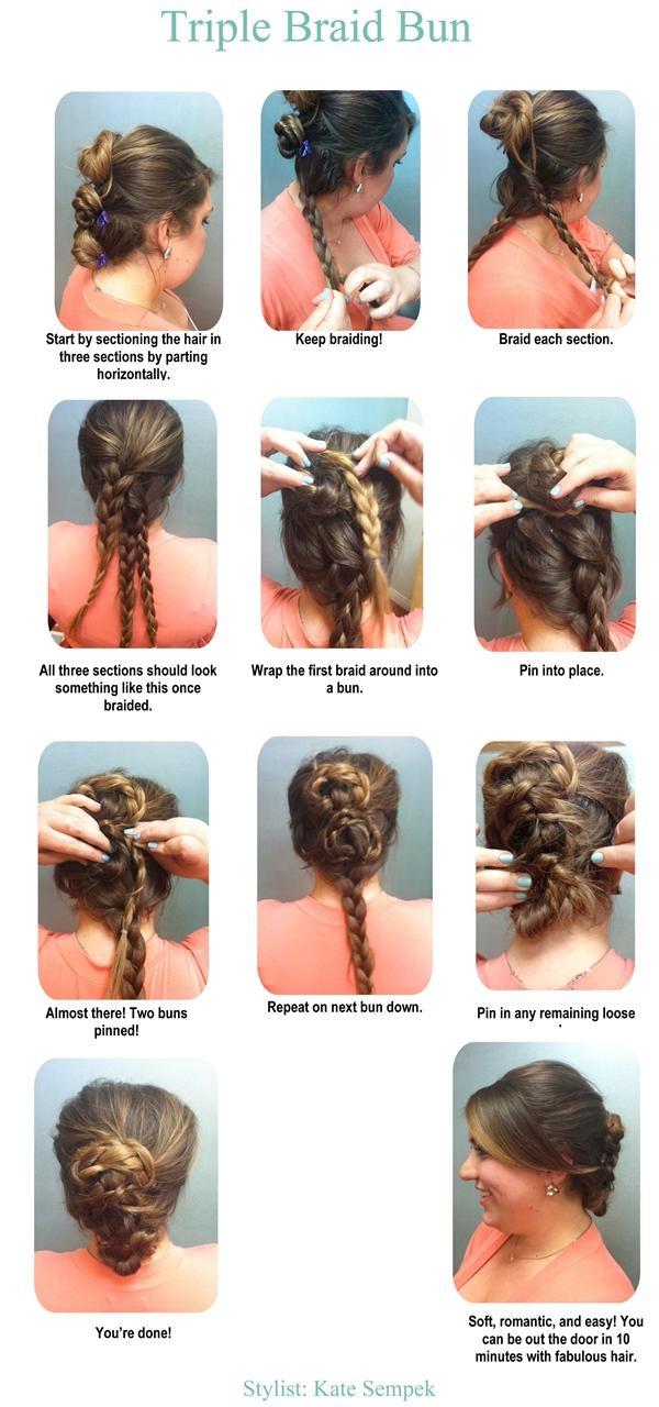 10 minute Triple Braid Bun!