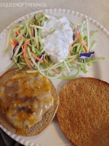 Buffalo Turkey Burgers with Blue Cheese Broccoli Slaw from Queen of ...