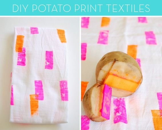 DIY Potato Print Textiles (via Curbly)  [http://theproperpinwheel.com/2012/07/tut-tuesday-potato-stamp-neon-napkins/]