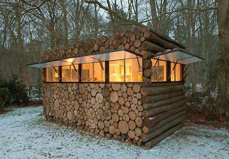 """modular """"log cabin"""" designed by Hans Linberg"""
