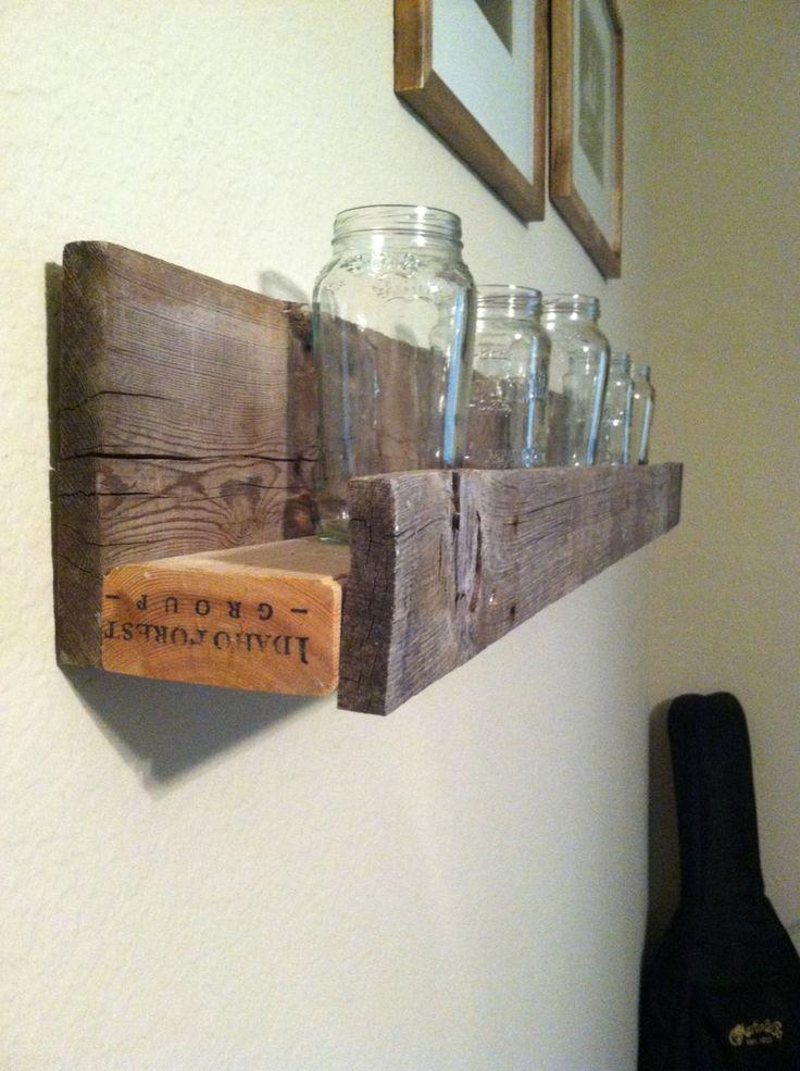 Weathered sunken barnwood shelf for Old barn wood craft projects