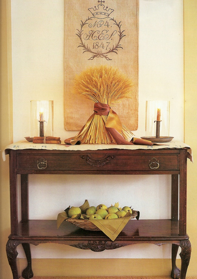 harvest side table - wheat centerpiece
