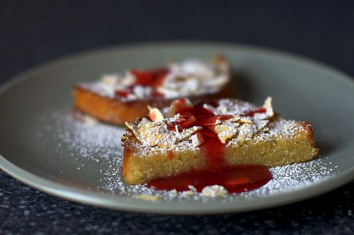 ... Almond Cake (Gâteau aux Amandes) served with Cranberry Syrup