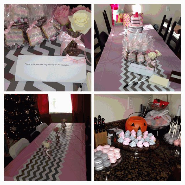 pink and grey chevron baby shower decorations