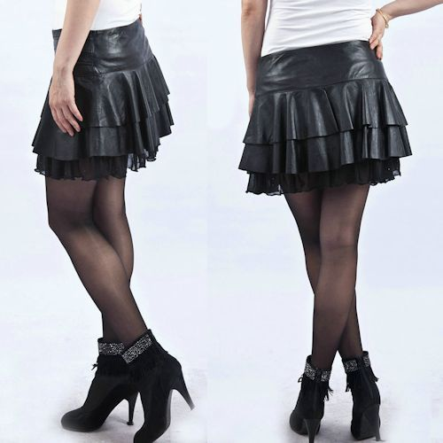 the gallery for gt black leather micro mini skirt
