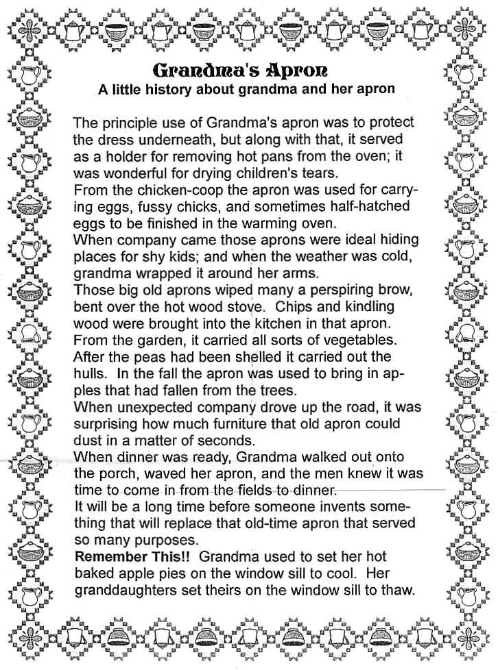 Grandma S Apron Just A Thought Pinterest