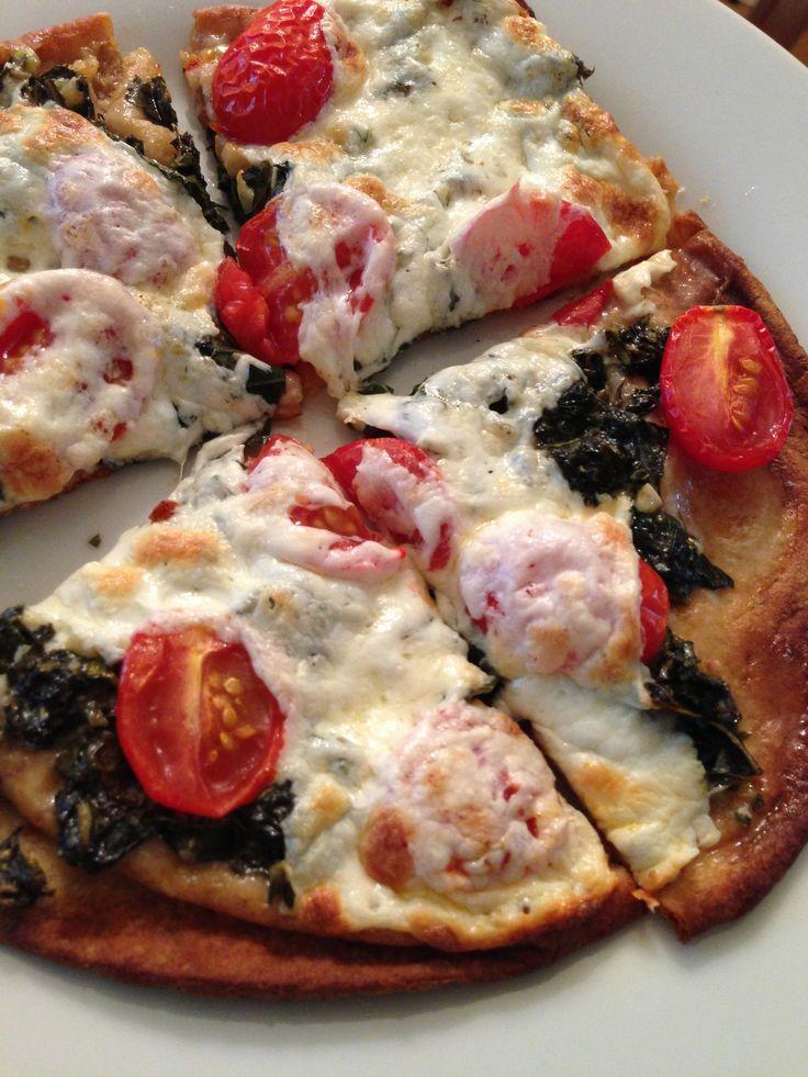 flatbread pizza - Joseph's whole wheat pita, pesto, tomatoes ...