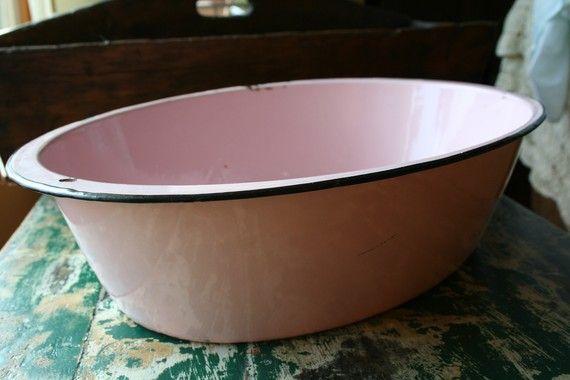vintage pink enamelware basin. Black Bedroom Furniture Sets. Home Design Ideas