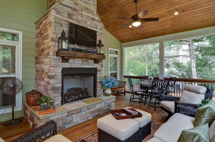 Screened Porch Addition With Fireplace Outdoor Spaces Pinterest