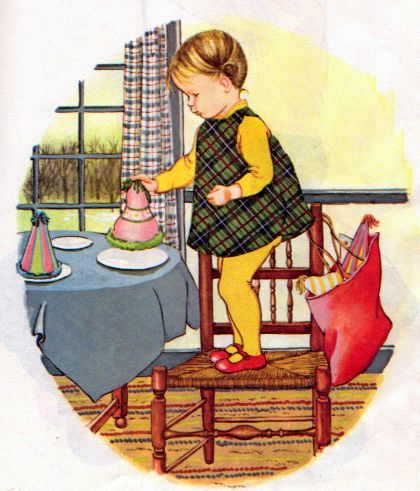 "Baby's Birthday, Eloise Wilkin, 1972- Setting the table      from ""Baby's Birthday"", Little Golden Book, 1972 Editionstory by Patricia Mowersillustrations by Eloise Wilkin"