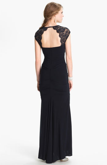 Xscape Lace Cap Sleeve Jersey Gown | Nordstrom