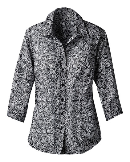 Black and white paisley shirt with darts.