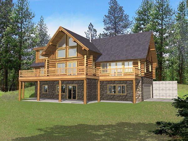 Contemporary Log House Plan 87029