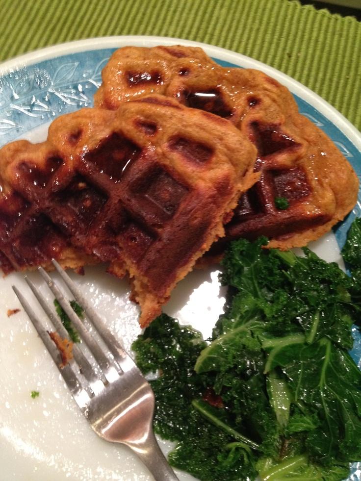 sweet potato waffles and kale | Beautiful, beautiful food | Pinterest