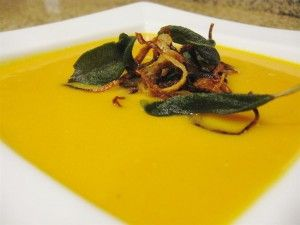 Butternut Squash Soup with Crispy Shallots and Sage