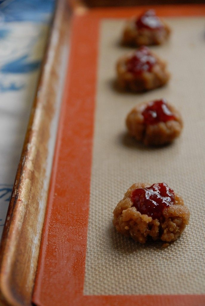 Peanut Butter and Cherry Jam Thumbprint Cookies // The Frosted Vegan