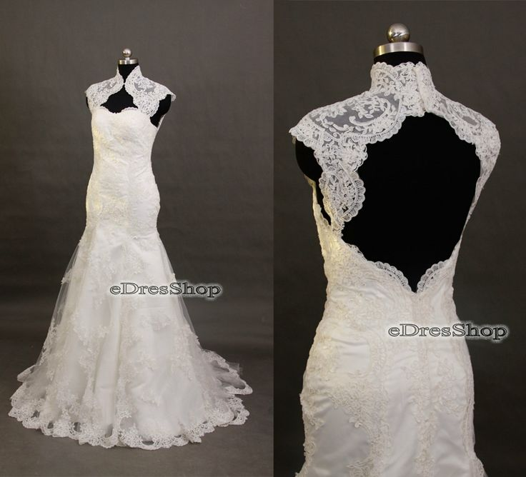 Lace backless wedding dress 2014 high neck trumpet by for High neck backless wedding dress
