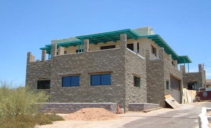 Split face block exterior for Split face block house