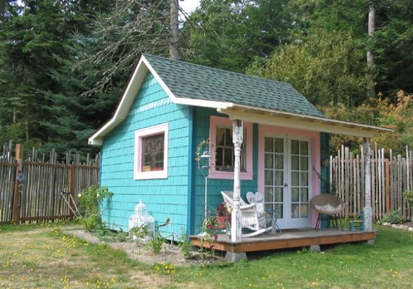 Turquoise garden shed garden sheds back yard retreats for Rustic shed with porch