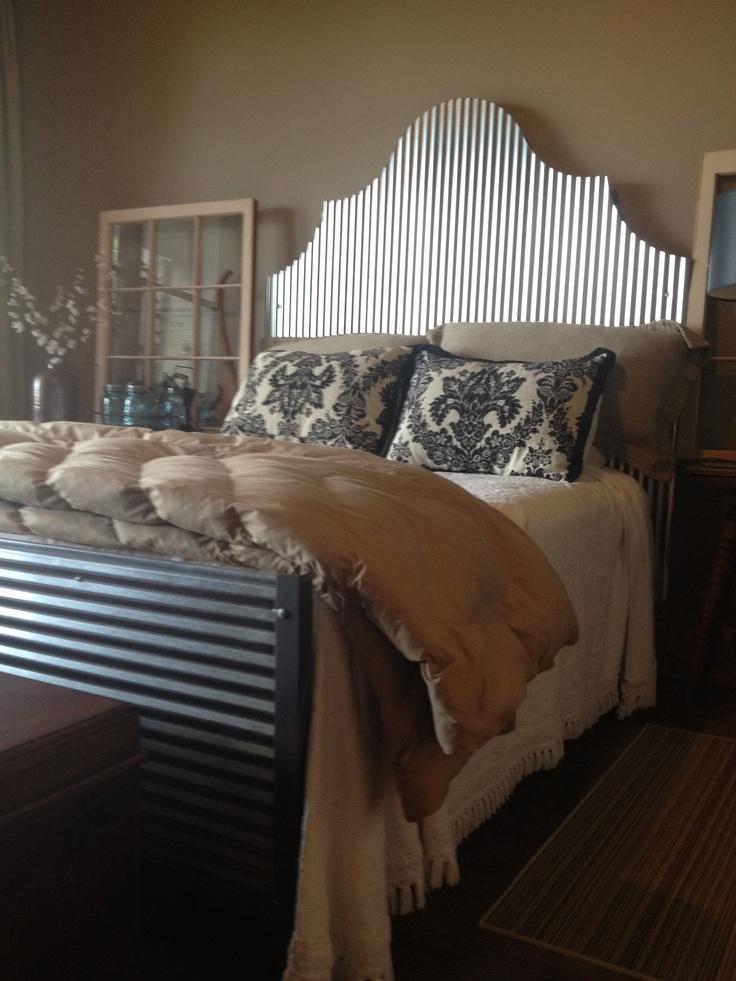 Corrugated tin headboard & footboard. #DIY #apartment #decorating #decor #bedroom #headboards