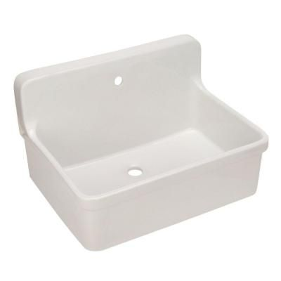 Apron Laundry Sink : Apron Front Wall Mount Vitreous China 30x22x17.5 1-Hole Scrub-up Sink ...