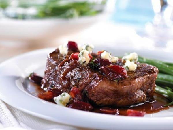 Beef Tenderloin with Cherry Port Sauce & Gorgonzola | KitchenDaily.com