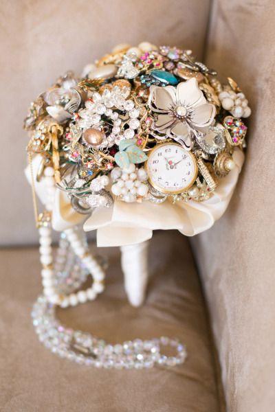 Vintage Jewellery Wedding Bouquets : Vintage jewelry bouquet my wedding