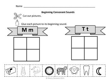 Beginning Consonant Sounds (Cut and Paste) 10 pages with 2 letters per ...