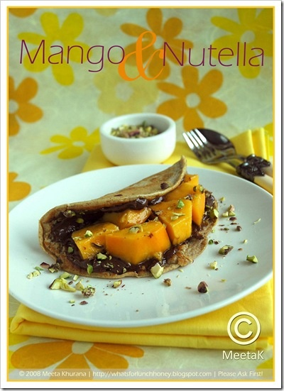 Whole Wheat Pancakes with Nutella & Mangoes