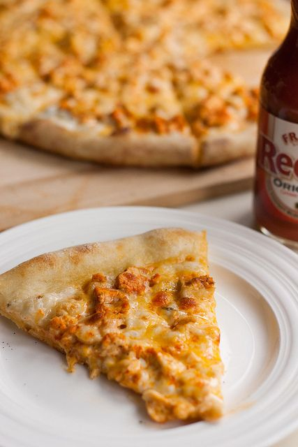 man, I love this buffalo chicken pizza!! So easy to make just a few ...