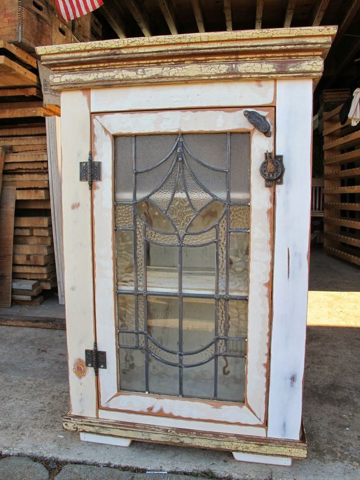 Vintage cabinet with leaded glass door farmhouse pinterest - Cabinet made from old doors ...