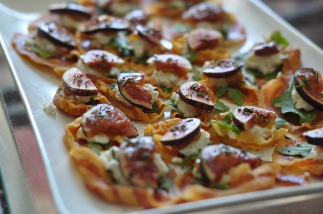 Pancetta crisps with goat cheese and fresh figs. Can also used dried ...