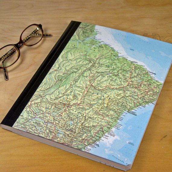 Old Book Laptop Case Diy ~ Upcycled notebook or journal with maps from vintage atlas