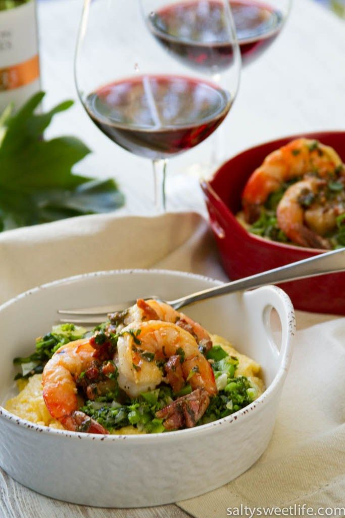 Shrimp and Grits with Pancetta and Broccoli Rabe