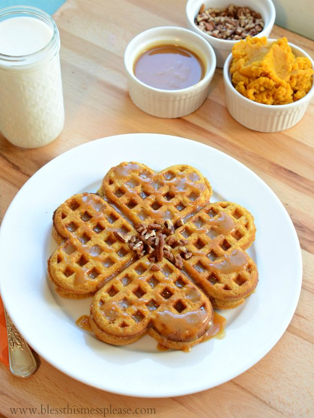 Pumpkin Caramel Spice Waffles with Caramel #Maple Syrup from ...