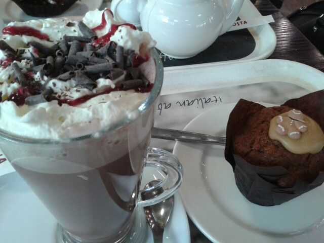 costa black forest hot chocolate and gingerbread muffin. Delicious.