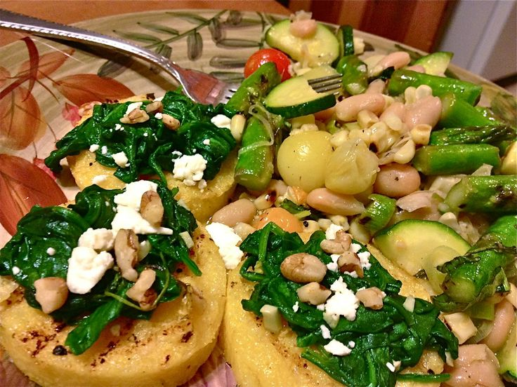 grilled polenta cake with spinach, feta and walnuts! SOOO good, and ...